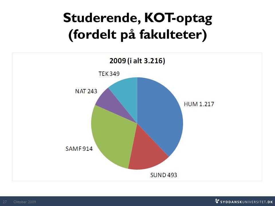 Studerende, KOT-optag (fordelt på fakulteter)