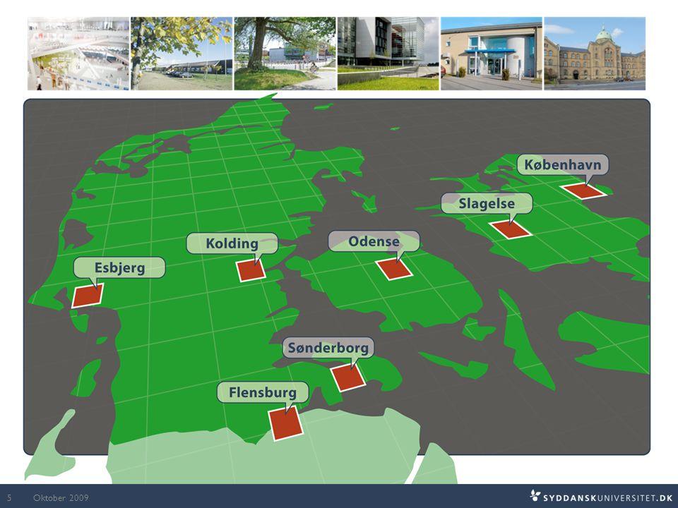 Syddansk Universitets placering i Danmark.