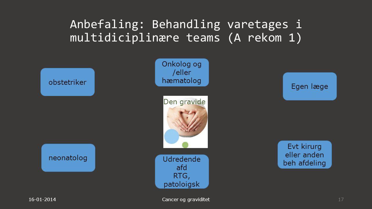 Anbefaling: Behandling varetages i multidiciplinære teams (A rekom 1)