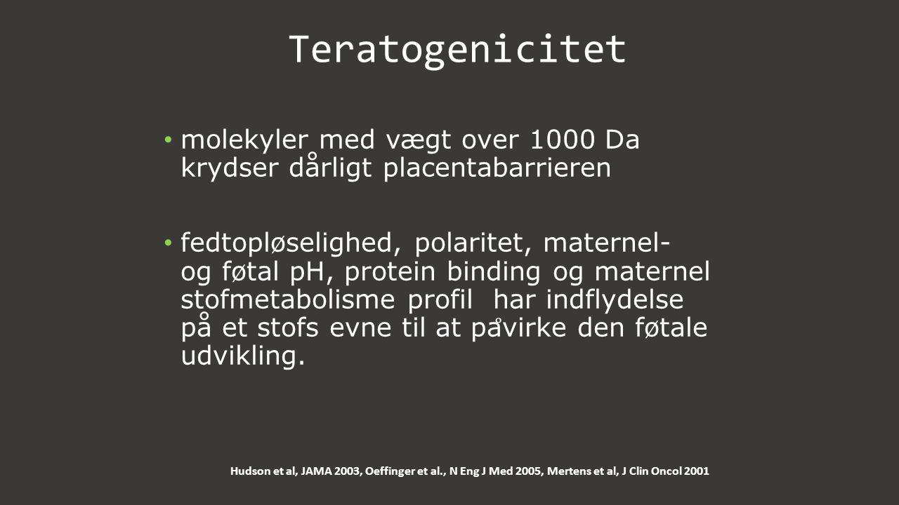 Teratogenicitet molekyler med vægt over 1000 Da krydser dårligt placentabarrieren.