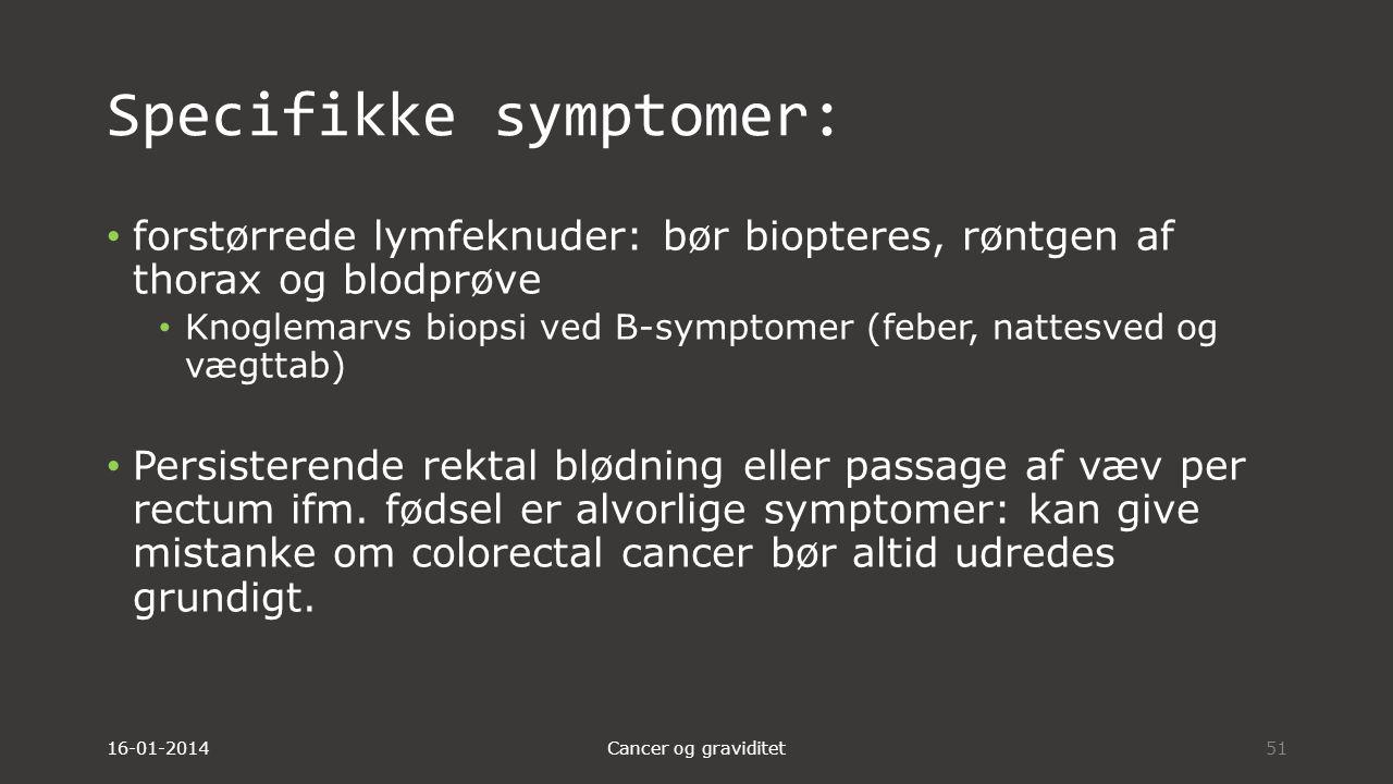 Specifikke symptomer:
