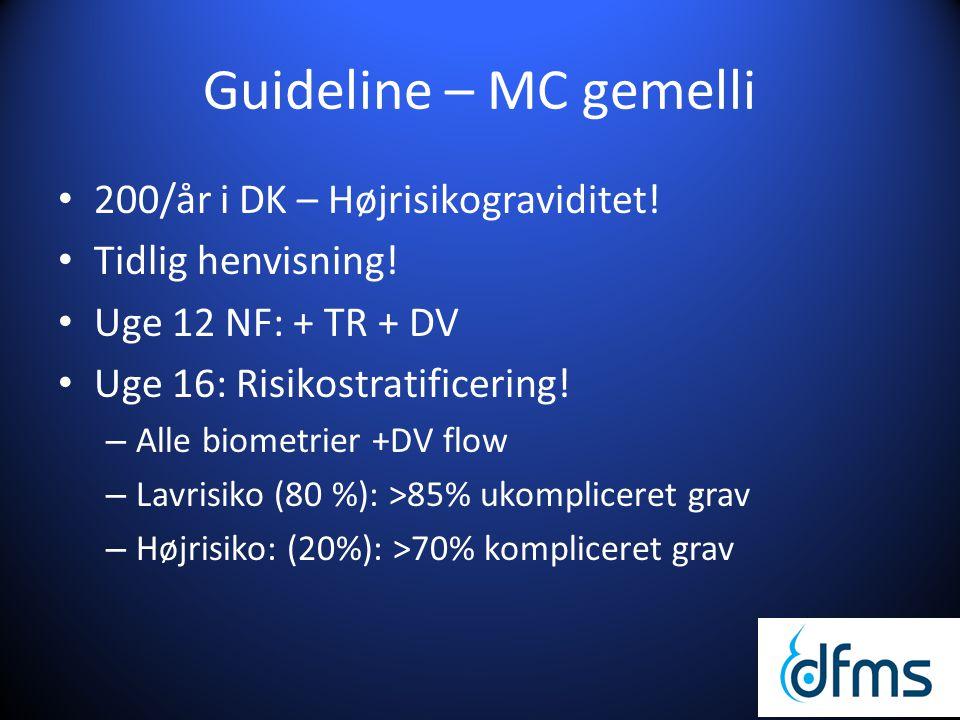 Guideline – MC gemelli 200/år i DK – Højrisikograviditet!