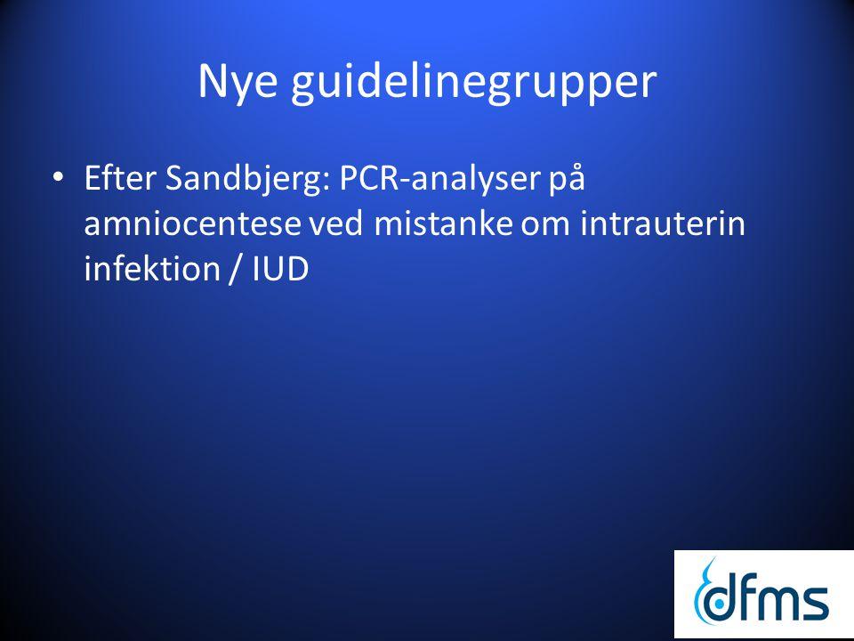Nye guidelinegrupper Efter Sandbjerg: PCR-analyser på amniocentese ved mistanke om intrauterin infektion / IUD.