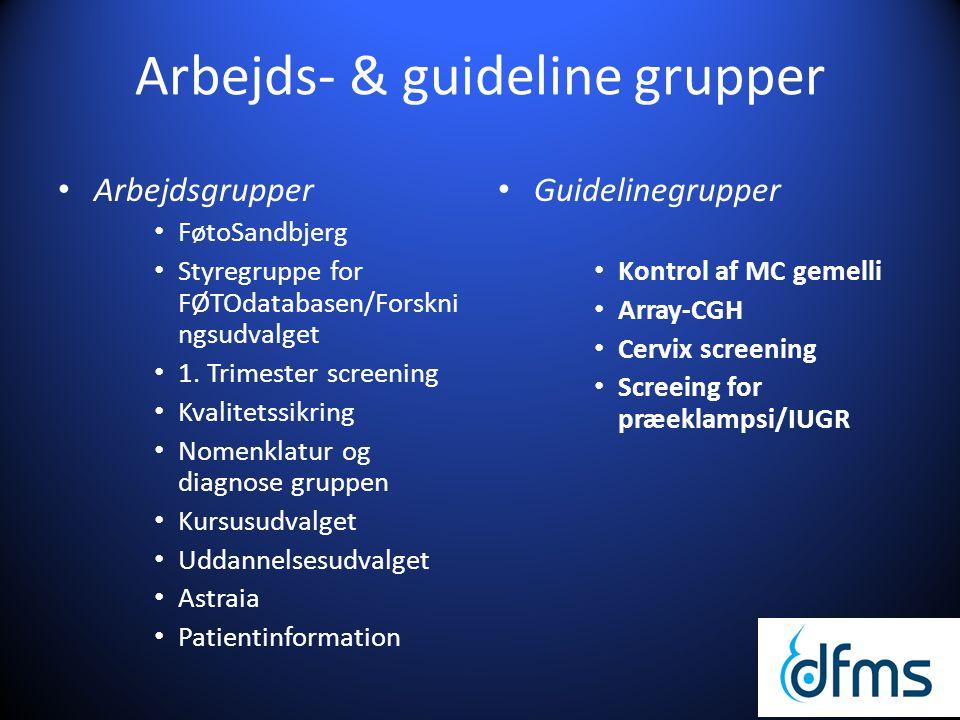 Arbejds- & guideline grupper