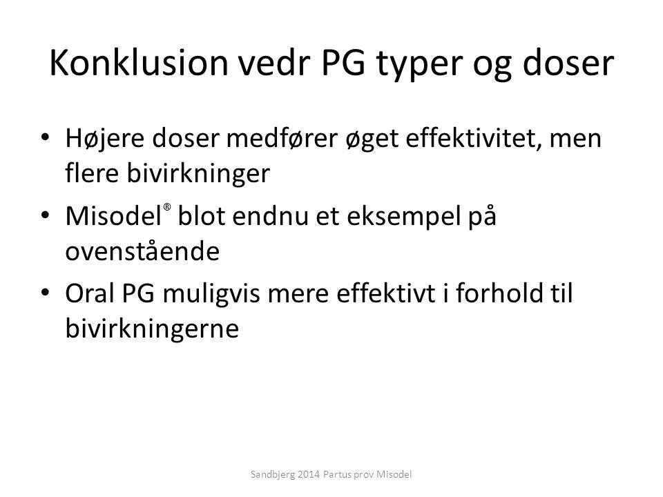 Konklusion vedr PG typer og doser