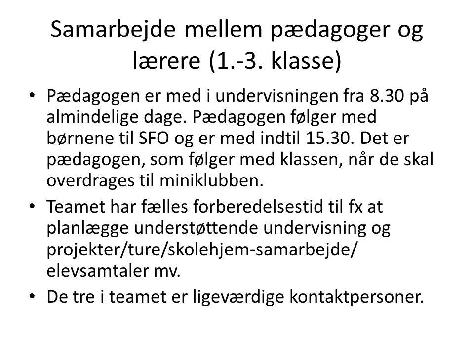 Samarbejde mellem pædagoger og lærere (1.-3. klasse)