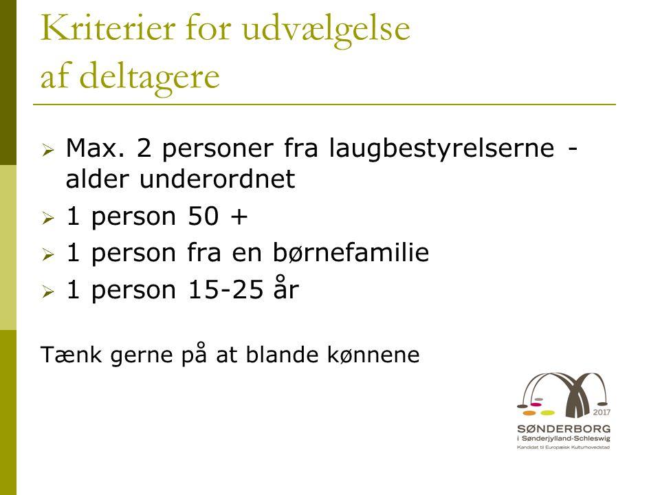 Kriterier for udvælgelse af deltagere