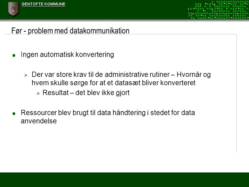 Før - problem med datakommunikation