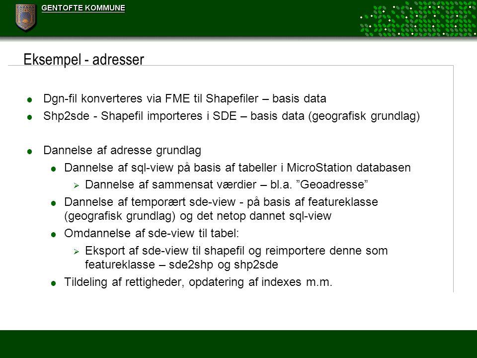 Eksempel - adresser Dgn-fil konverteres via FME til Shapefiler – basis data. Shp2sde - Shapefil importeres i SDE – basis data (geografisk grundlag)