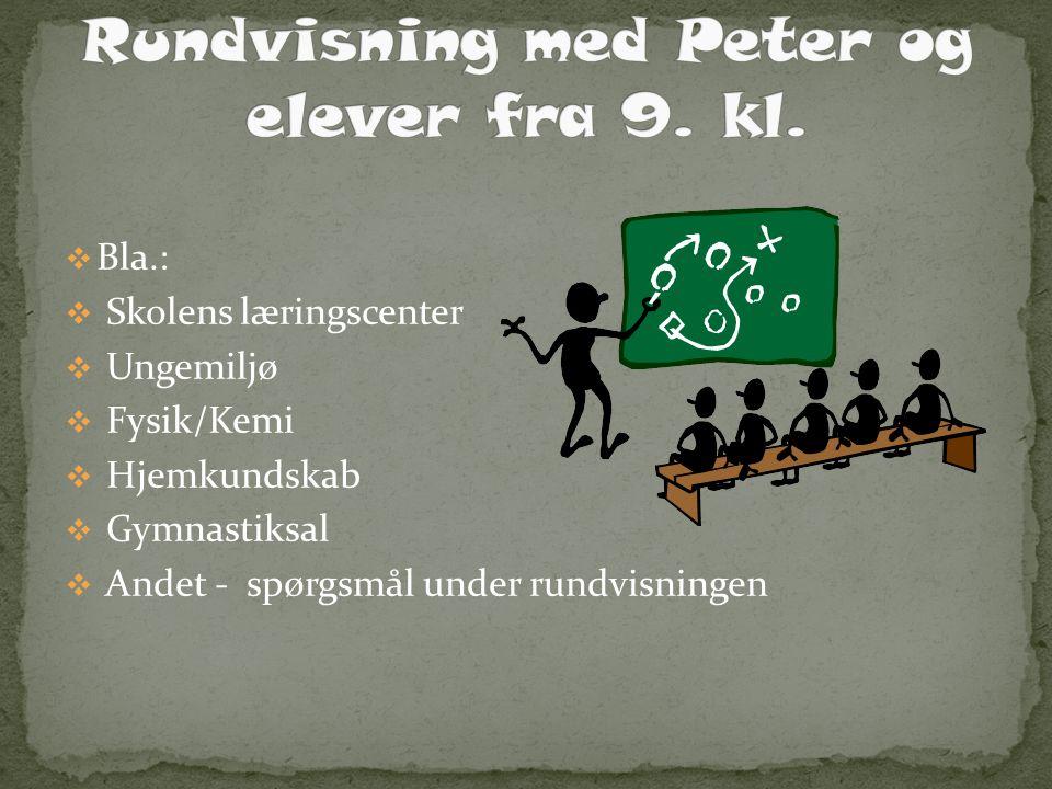 Rundvisning med Peter og elever fra 9. kl.