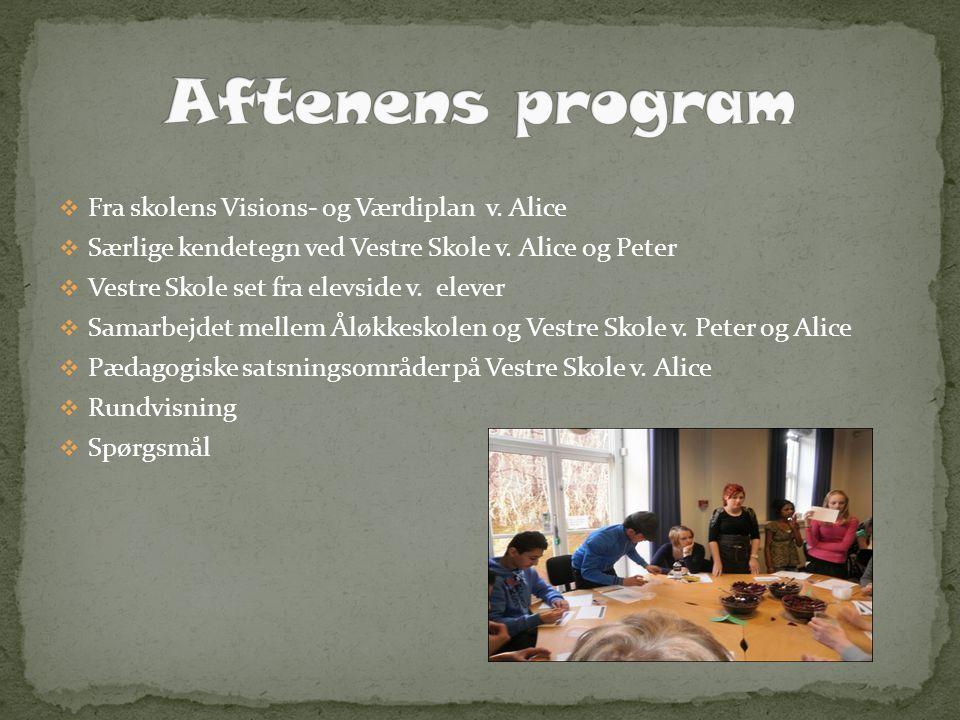 Aftenens program Fra skolens Visions- og Værdiplan v. Alice