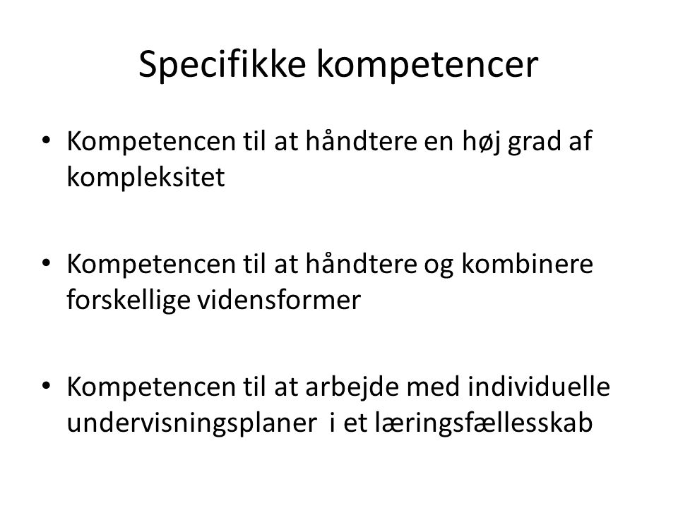 Specifikke kompetencer