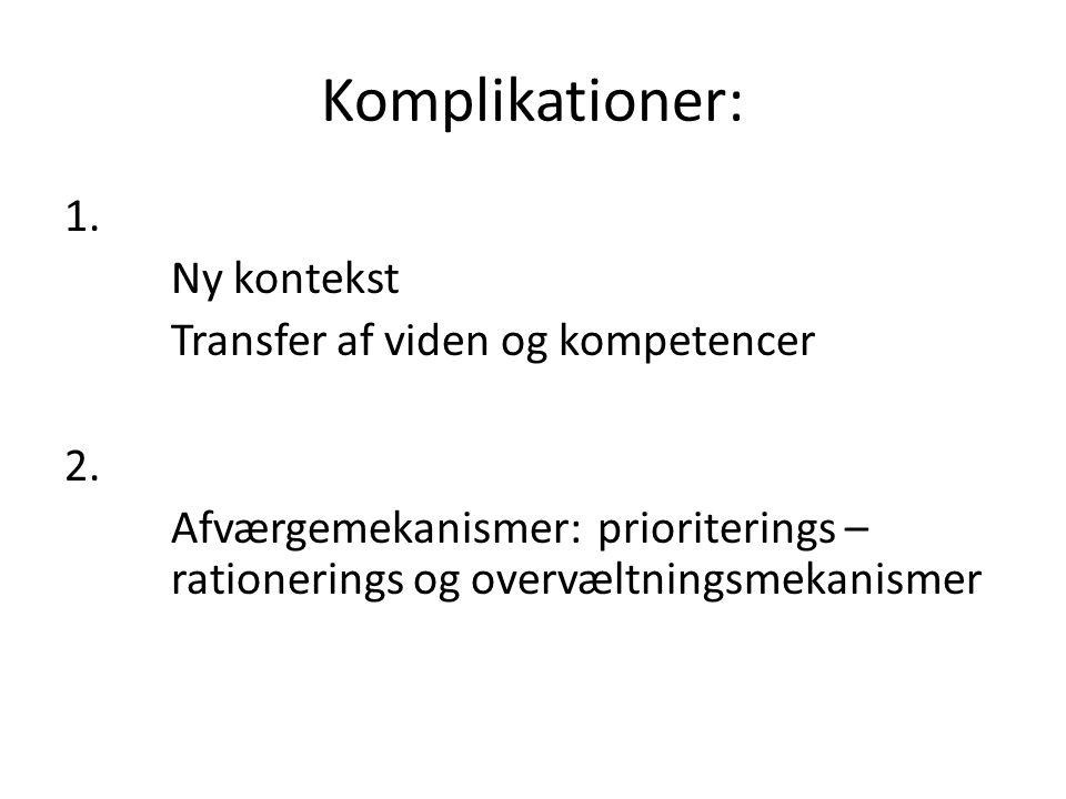 Komplikationer: 1. Ny kontekst Transfer af viden og kompetencer 2.