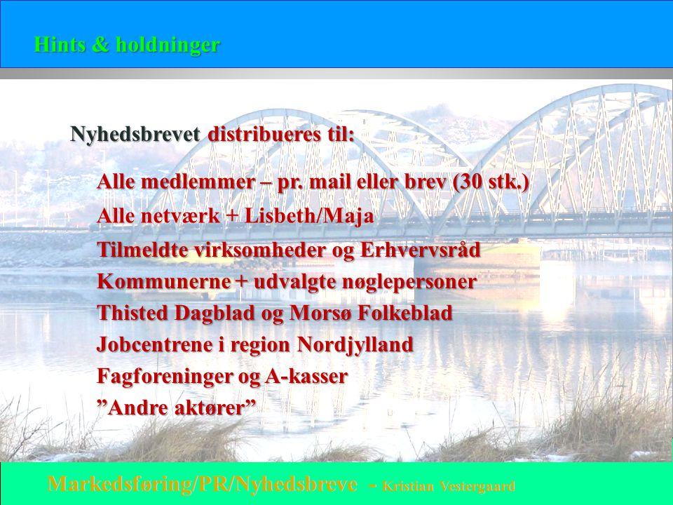 Hints & holdninger Nyhedsbrevet distribueres til: Alle medlemmer – pr. mail eller brev (30 stk.) Alle netværk + Lisbeth/Maja.