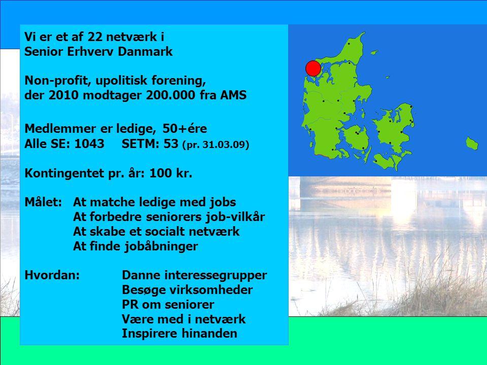 Vi er et af 22 netværk i Senior Erhverv Danmark. Non-profit, upolitisk forening, der 2010 modtager 200.000 fra AMS.