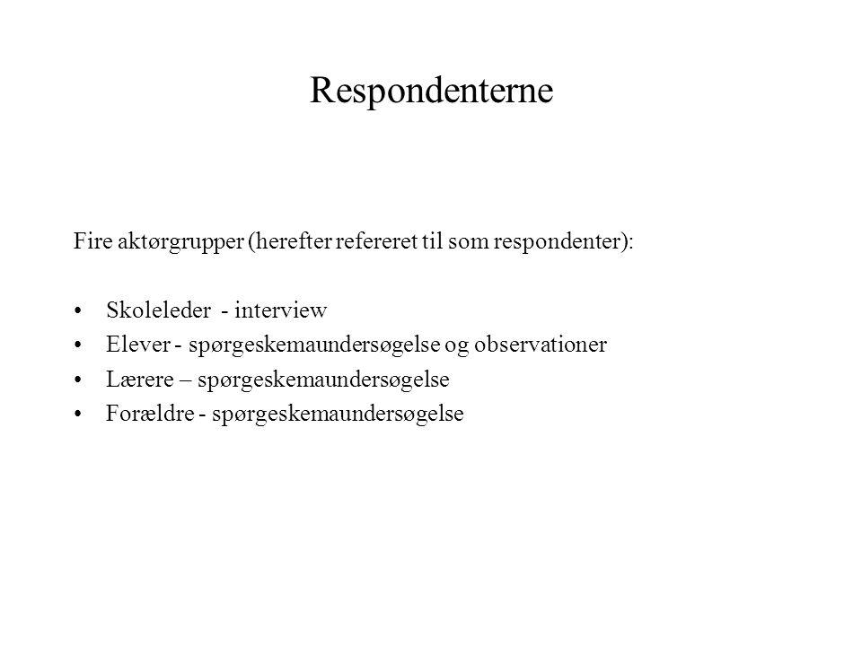 Respondenterne Fire aktørgrupper (herefter refereret til som respondenter): Skoleleder - interview.