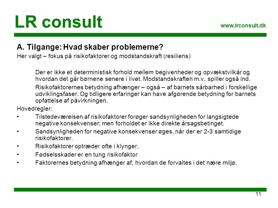 LR consult A. Tilgange: Hvad skaber problemerne