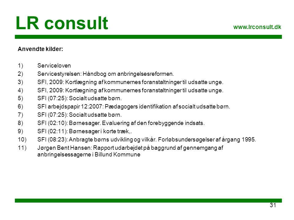 LR consult www.lrconsult.dk Anvendte kilder: Serviceloven