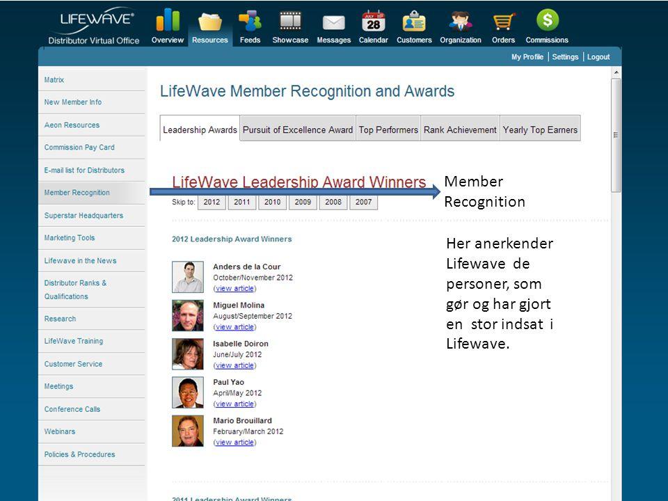 Member Recognition Her anerkender Lifewave de personer, som gør og har gjort en stor indsat i Lifewave.