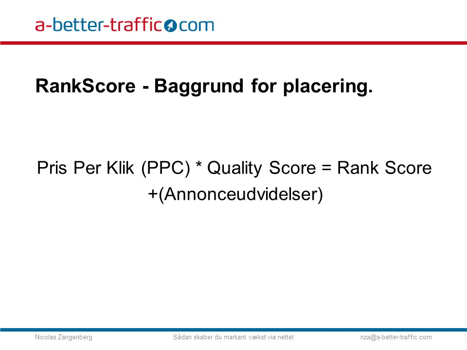 RankScore - Baggrund for placering.