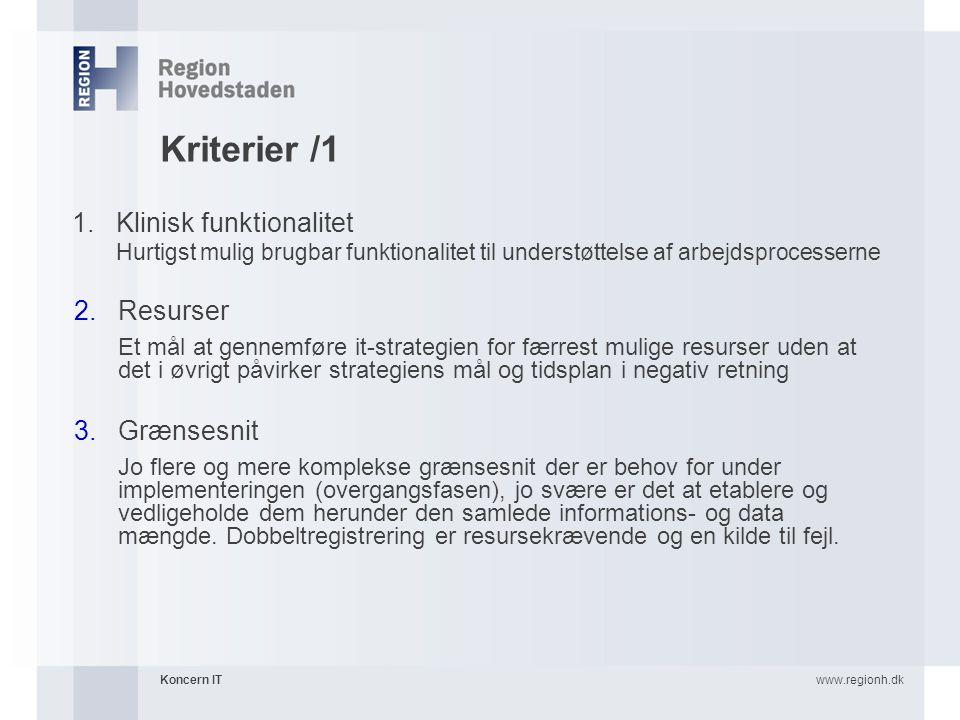 Kriterier /1 Klinisk funktionalitet Resurser Grænsesnit