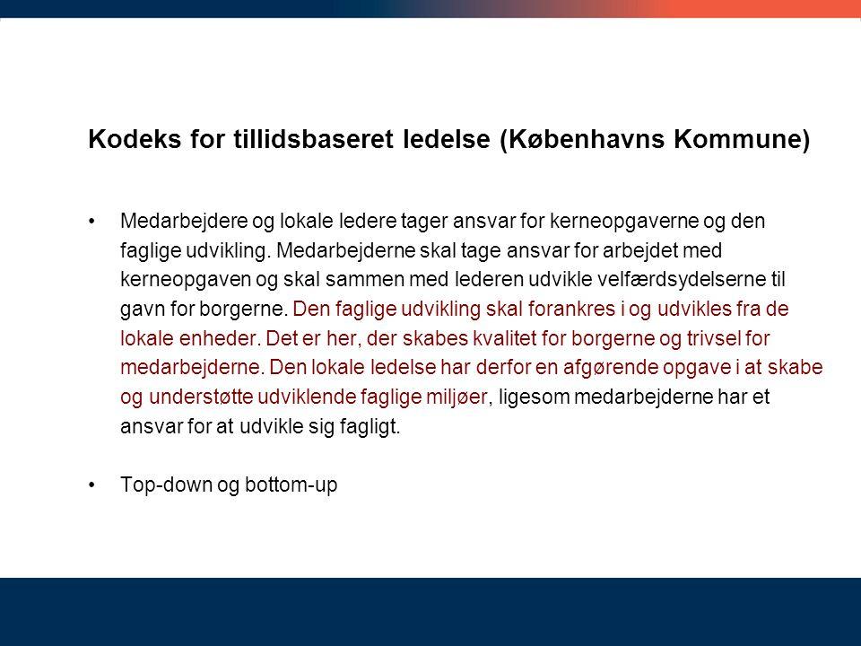 Kodeks for tillidsbaseret ledelse (Københavns Kommune)
