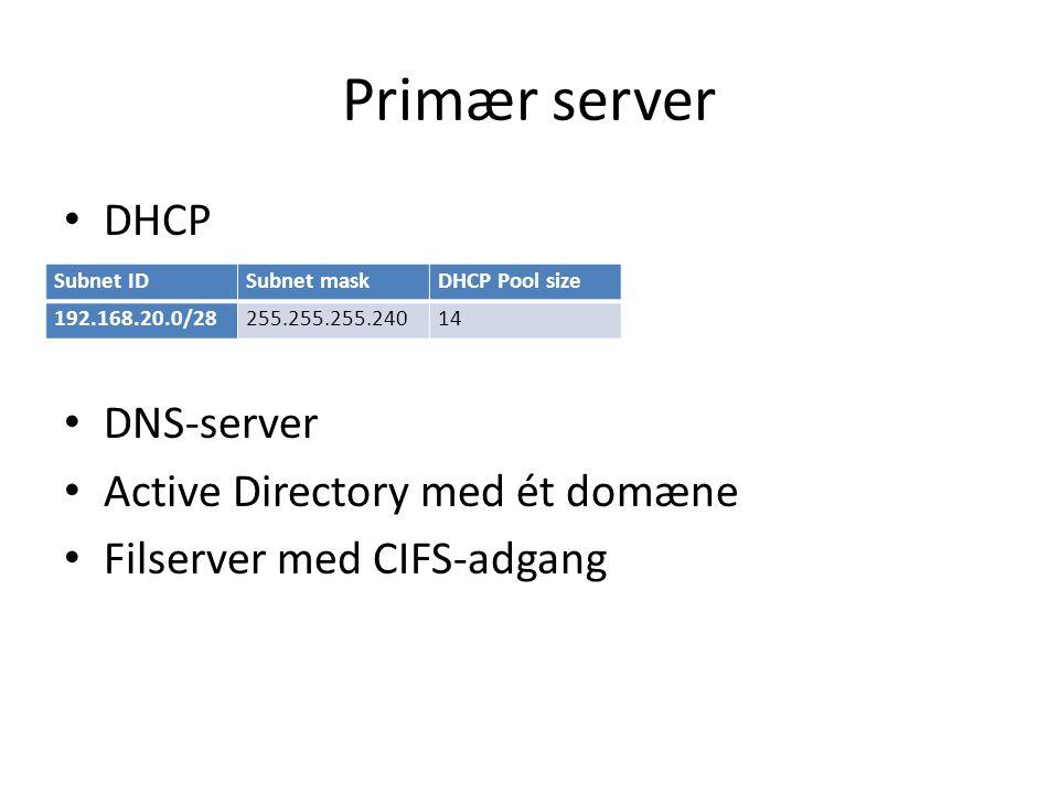 Primær server DHCP DNS-server Active Directory med ét domæne
