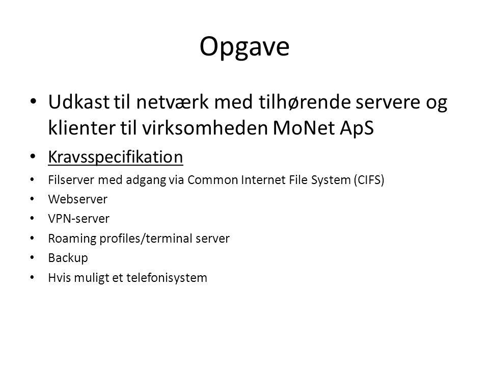 Opgave Udkast til netværk med tilhørende servere og klienter til virksomheden MoNet ApS. Kravsspecifikation.