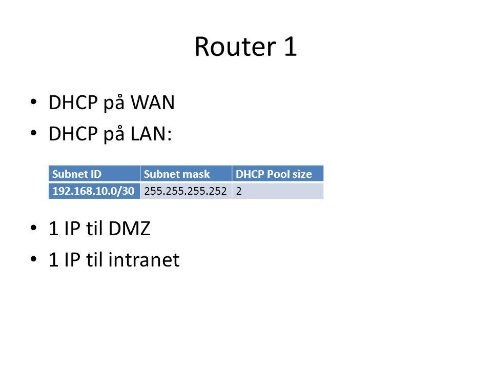 Router 1 DHCP på WAN DHCP på LAN: 1 IP til DMZ 1 IP til intranet