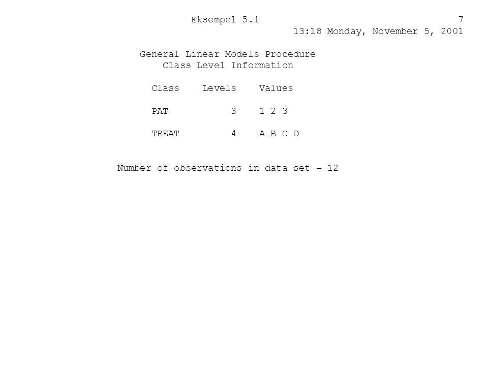 Eksempel 5.1 7 13:18 Monday, November 5, 2001. General Linear Models Procedure.