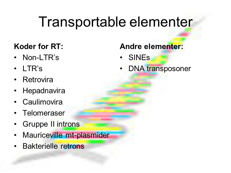 Transportable elementer