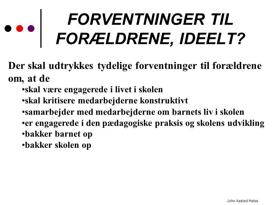 FORVENTNINGER TIL FORÆLDRENE, IDEELT