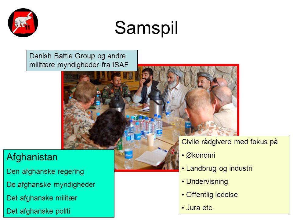 Samspil Danish Battle Group og andre militære myndigheder fra ISAF. Civile rådgivere med fokus på.