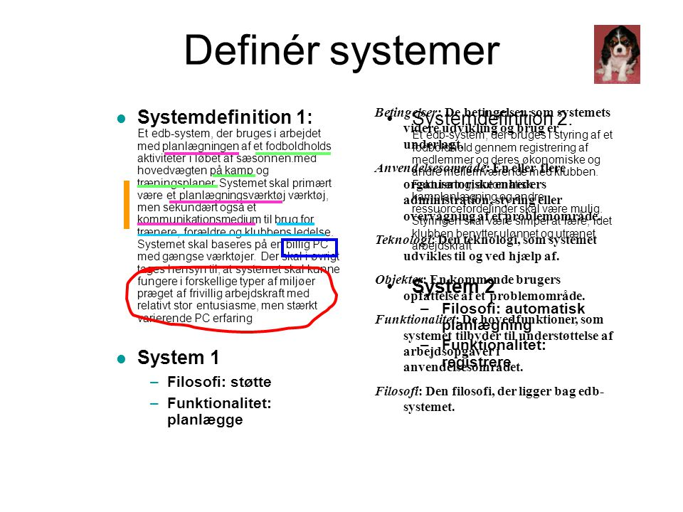 Definér systemer
