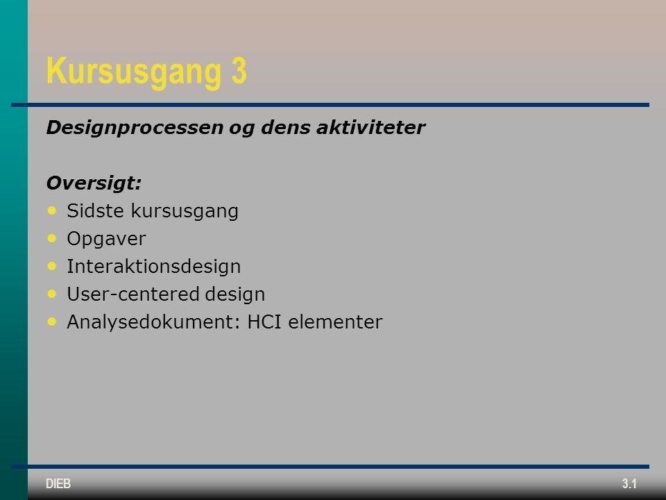 Kursusgang 3 Designprocessen og dens aktiviteter Oversigt: