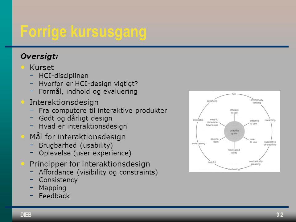Forrige kursusgang Oversigt: Kurset Interaktionsdesign