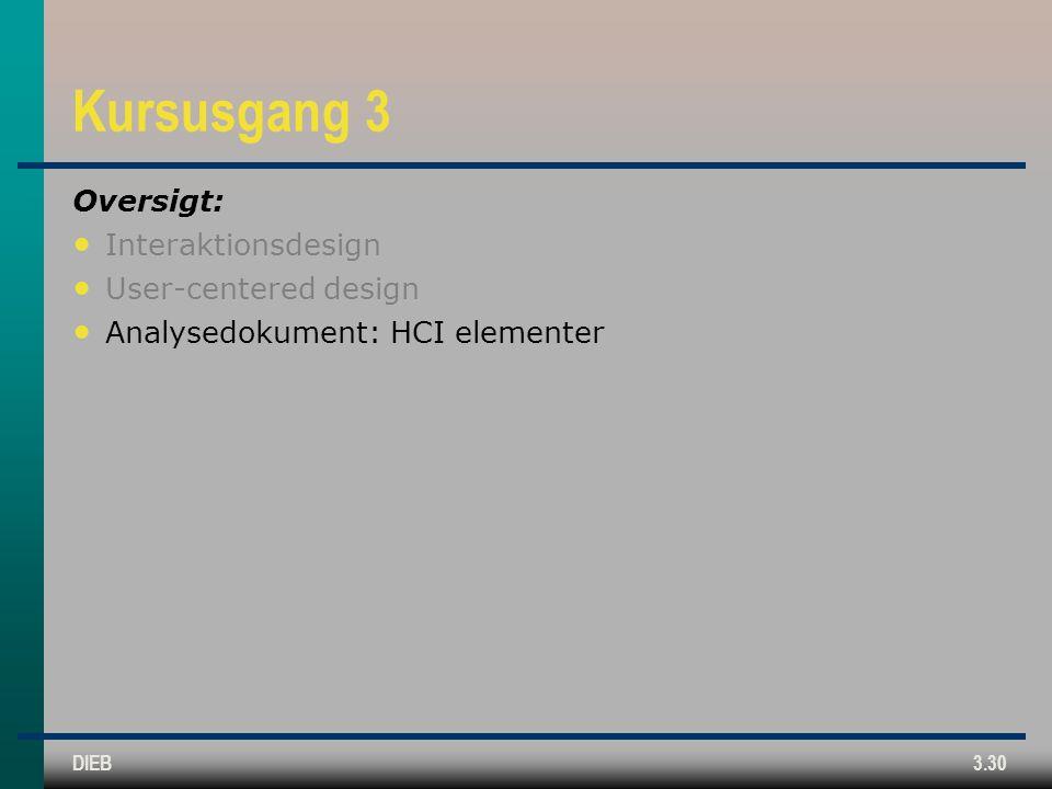 Kursusgang 3 Oversigt: Interaktionsdesign User-centered design