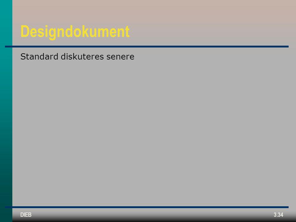 Designdokument Standard diskuteres senere DIEB