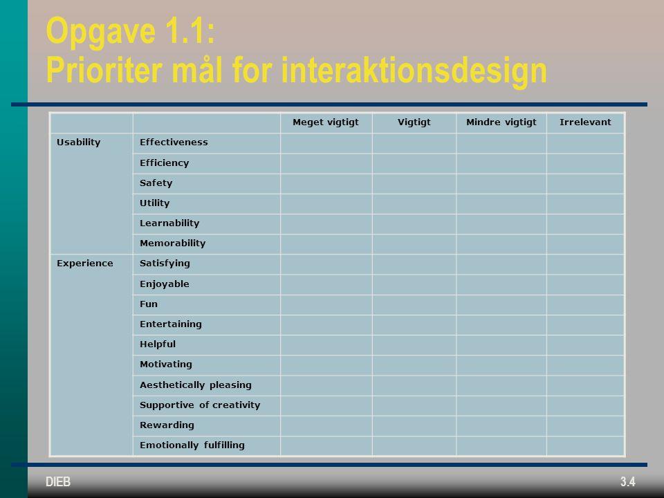 Opgave 1.1: Prioriter mål for interaktionsdesign