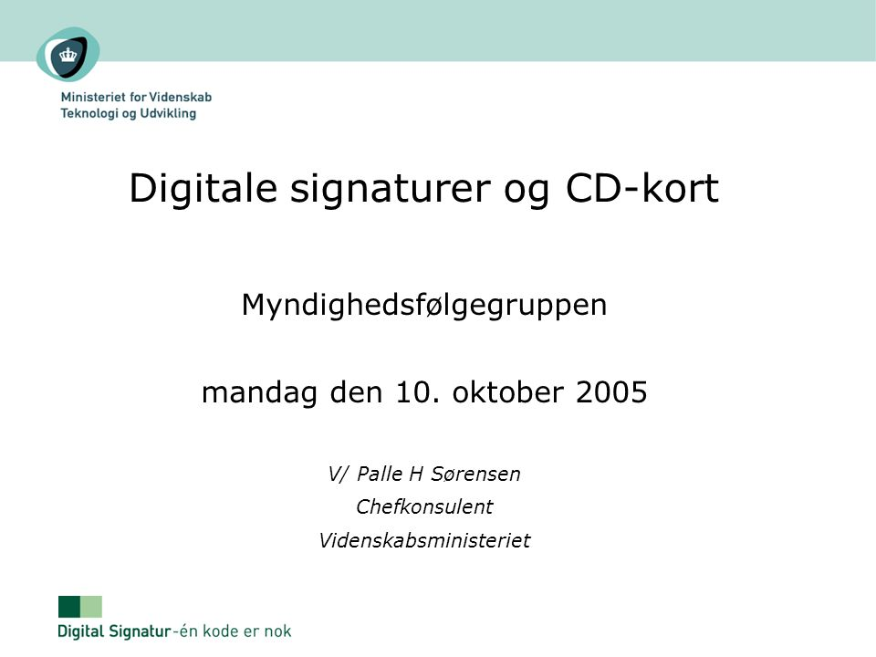 Digitale signaturer og CD-kort
