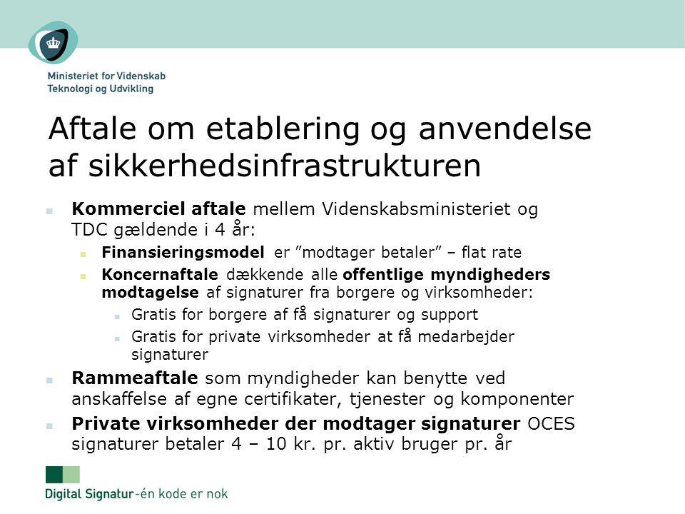 Aftale om etablering og anvendelse af sikkerhedsinfrastrukturen