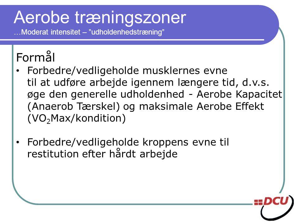 Aerobe træningszoner …Moderat intensitet – udholdenhedstræning