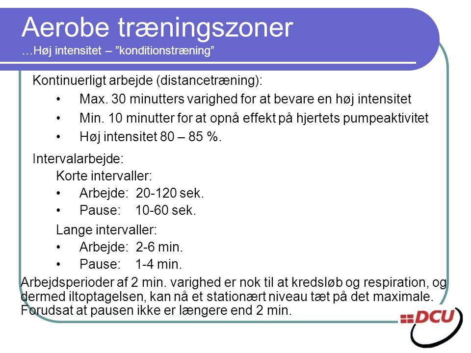 Aerobe træningszoner …Høj intensitet – konditionstræning