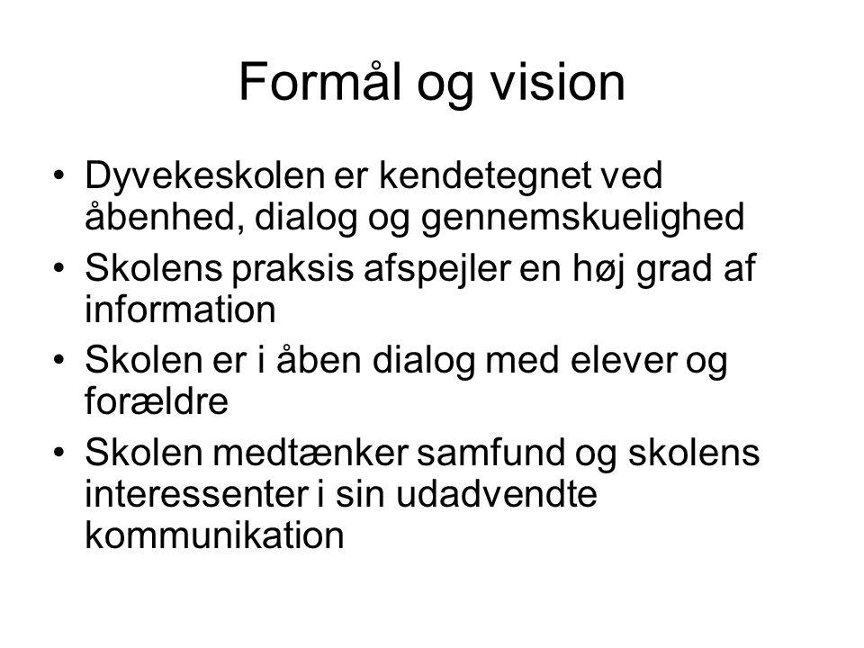 Formål og vision Dyvekeskolen er kendetegnet ved åbenhed, dialog og gennemskuelighed. Skolens praksis afspejler en høj grad af information.