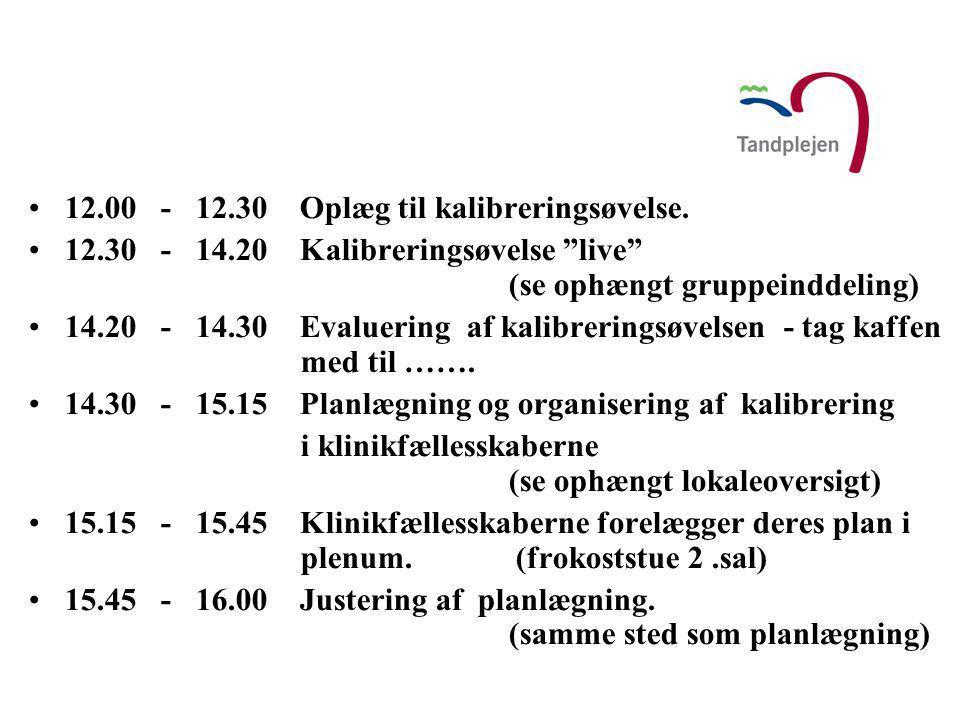 12.00 - 12.30 Oplæg til kalibreringsøvelse.