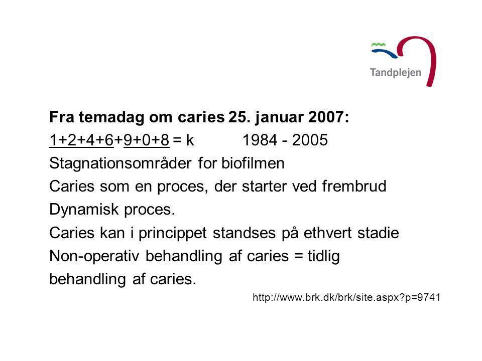 Fra temadag om caries 25. januar 2007: 1+2+4+6+9+0+8 = k 1984 - 2005