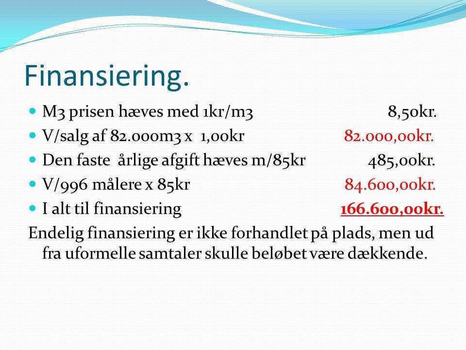 Finansiering. M3 prisen hæves med 1kr/m3 8,50kr.