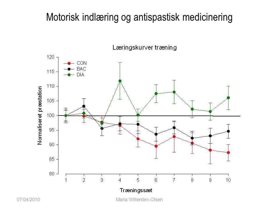 Motorisk indlæring og antispastisk medicinering