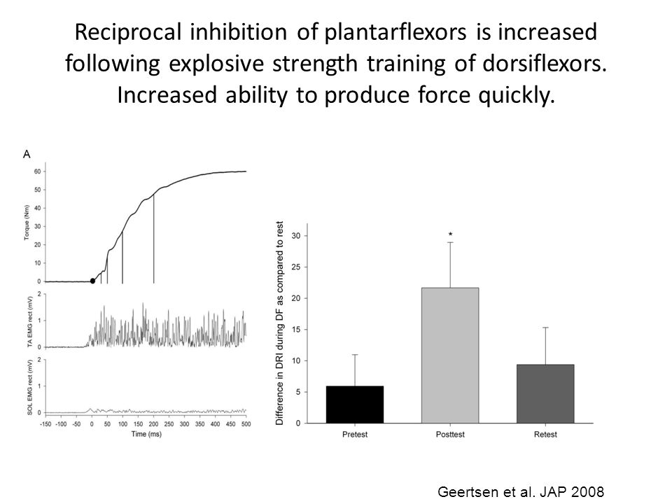Reciprocal inhibition of plantarflexors is increased following explosive strength training of dorsiflexors. Increased ability to produce force quickly.