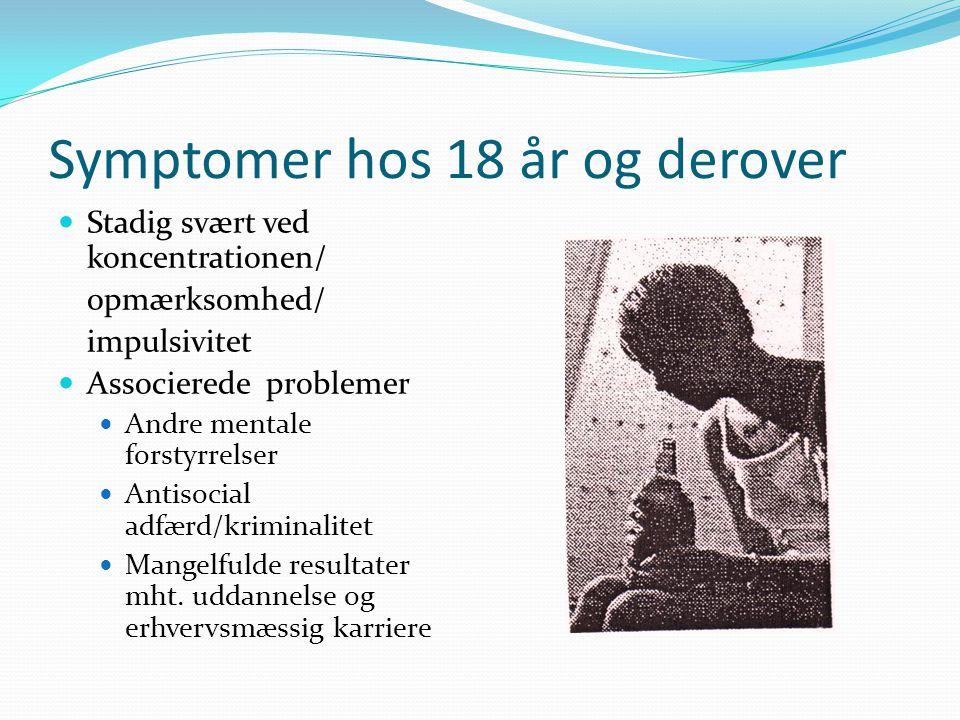 Symptomer hos 18 år og derover